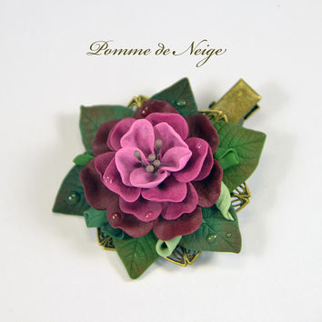 Ready to ship!- Floral Hair barrette clip Polymer clay jewelry Handmade flower accessory for hair Vinous Pink flower