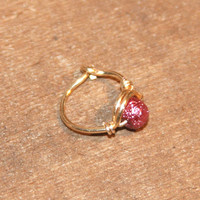 Small Cartilage/Tragus Ring, Pink Beaded Nose Ring, Nose Hoop, Hoop Earring, nose Hoop, Endless Hoop, Seamless Hoop, Piercing Jewelry, Hoop