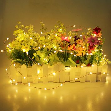 Led Christmas Light 2M 20 LEDs Battery Operated Mini LED Copper Wire String Fairy Lights For Wedding Xmas Garland Party