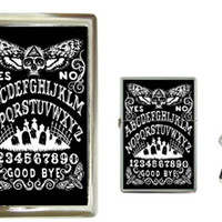 Ouija Board Death Head Moth Cigarette Case and Lighter