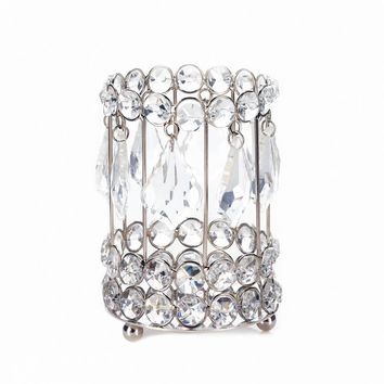 Iron Large Crystal Drop Candle Holder