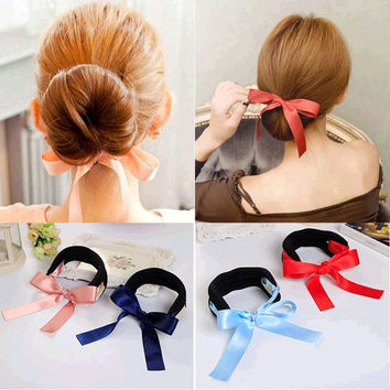 Silky Ribbon Bow Big & Small Size Black Sponge Hair Styling Tools Device Headbands Hair Ties Accessories for Women Headwear