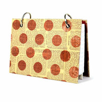 3 x 5 index card binder, red polka dots on newsprint, writing journal, index card holder with a set of index card dividers