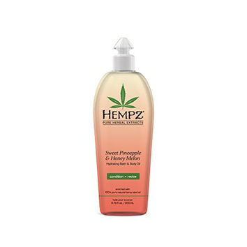 Hempz Hydrating Bath and Body Oil, Off Yellow, Sweet Pineapple/Honey Melon, 6.76 Fluid Ounce