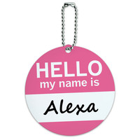 Alexa Hello My Name Is Round ID Card Luggage Tag