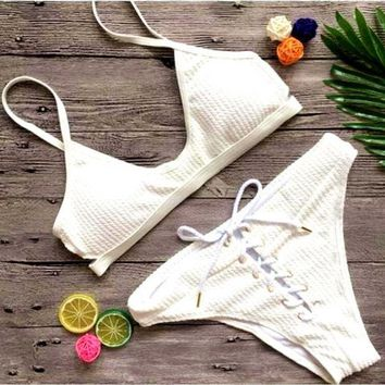 CREYIH3 The white sexy pure color bikini bottom lace up two piece swimsuit
