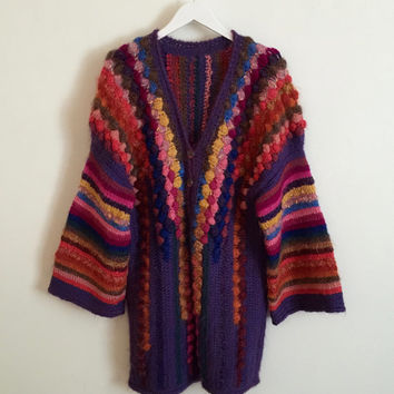 Vintage 1980s hand knitted rainbow wool cardigan with textured bobble body and wide striped tunic sleeves