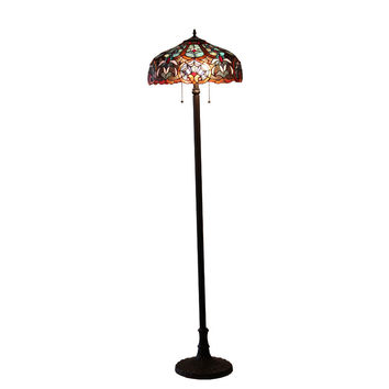 "SADIETiffany-style 2 Light Victorian Floor Lamp 18"" Shade"