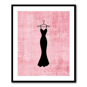 Fashion Wall Art - 8 x 10 or larger Print - little black dress - French script - vintage - pink - Purple teen tween bedroom art