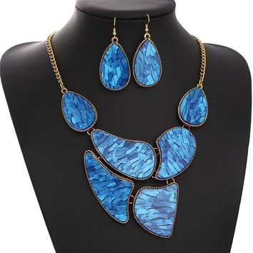 Fashion Big Brand Vintage Jewelry Sets Blue Ceramic personality statement necklace earrings jewellery set