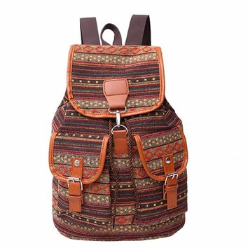 Vintage Canvas Bag Boho Backpack Women Schoolbag National Student School Bags for Teenage Girls Big Printing Backpack Rucksack