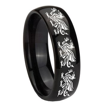 8mm Multiple Dragon Dome Black Tungsten Carbide Men's Engagement Ring