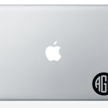 Laptop Monogram 3 inch Decal Ships Fast by olivetreemonograms