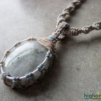 Rainbow Moonstone Necklace, Worry Stone Necklace, Healing Crystal Necklace, Moonstone Jewelry, Hemp Necklace