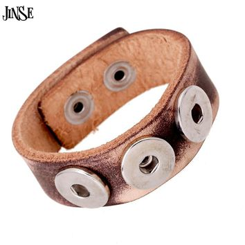 JINSE 2017 Vintage Punk Cuff Bracelet Genuine Leather Alloy Snaps Button Bracelets & Bangles For Men Jewelry HQ170