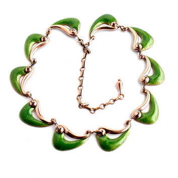 Vintage Matisse Copper Wave Necklace - Green Enamel Costume Jewelry / Modernist Collar