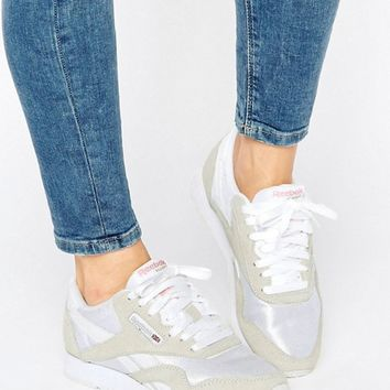 Reebok Classic Nylon Trainers In White And Grey at asos.com
