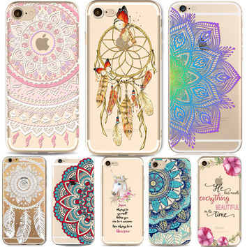 Phone Cases for Apple iPhone 5 5S SE 6 6S Plus 6Plus HENNA DREAM CATCHER Vintage Paisley Mandala Flowers TPU Silicon Cover Capa