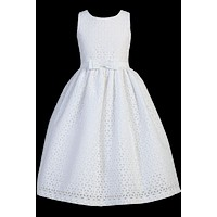 White Cotton Eyelet Communion Dress w. Embroidered Flowers 6-12