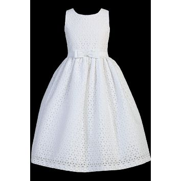 White Cotton Eyelet Girls Communion Dress w. Embroidered Flowers 6-12