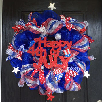 Independence Day, 4th of July Deco Mesh Wreath red, white, and blue wreath  with Happy 4th of July glitter sign RESERVED