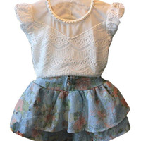 Girls Casual T Shirt + Skirt Summer