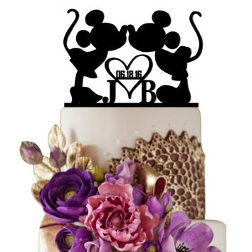 Personalized Wedding Cake Topper Minnie Heart Mickey