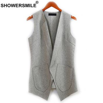 SHOWERSMILE Slim Fit Wool Vest For Women Autumn Open Front Grey Sleeveless Waistcoat Female Jacket Long Casual Blazer