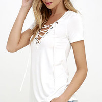 Enjoy the Ride Ivory Lace-Up Top