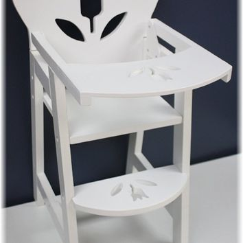 18 Inch Doll Furniture Wooden Doll High Chair with Lift-Up Tray - (18`` White F