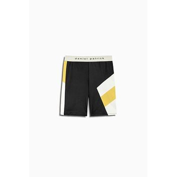 LA bike short / black + yellow + ivory