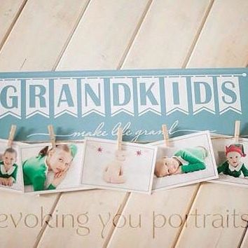 Grandkids Wooden Sign Photograph Holder