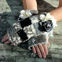 Arm warmers, fingerless gloves, rustic country chic embellished glove, romantic, holiday accessories, shabby chic gray white