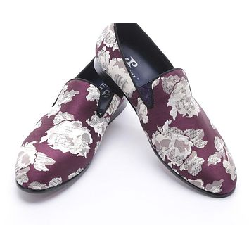 new arrival Purple jacquard fabric with White flowers handmade men loafers party and prom men dress shoes men's flats