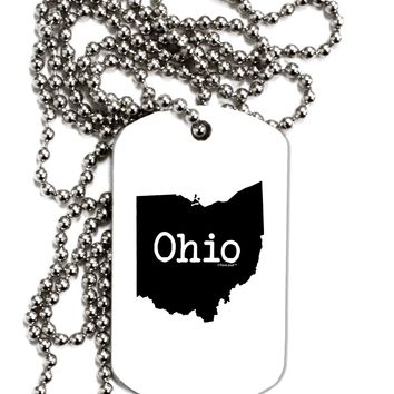 Ohio - United States Shape Adult Dog Tag Chain Necklace by TooLoud