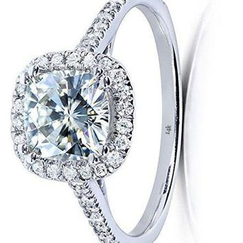 1 1/3 CTW 14k White Gold Cushion-cut Moissanite Engagement Ring with Diamond
