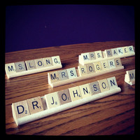 NAME PLATE (10 or LESS tiles) for a desk, ScrabbleDecor, made to Order