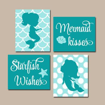 MERMAID Wall Art, Canvas or Prints, Mermaid Bathroom, Sister BATHROOM, Mermaid Bedroom Decor, Mermaid Kisses Starfish Wishes, Set of 4