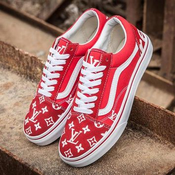 Vans x LV Old Skool Canvas Print Flats Sneakers Sport Shoes
