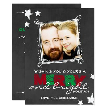 MERRY & BRIGHT CHALKBOARD CHRISTMAS CARD