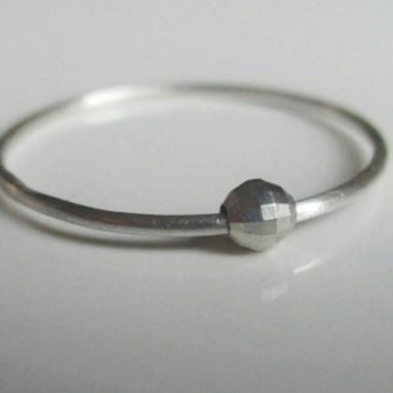 Fidget Ring, Worry Ring, Anxiety Ring, Sterling Silver and Faceted Bead Ring