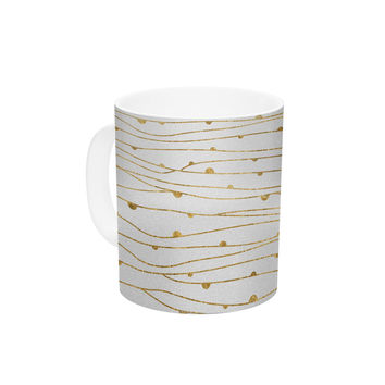 "888 Design ""Golden Stripes Pattern"" Abstract Gold Ceramic Coffee Mug"
