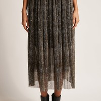 Crinkled Metallic Maxi Skirt