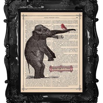 OUR ORIGINAL DESIGN Vintage Elephant and Bird by BlackBaroque