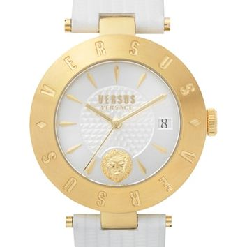 VERSUS by Versace Logo Leather Strap Watch, 34mm | Nordstrom