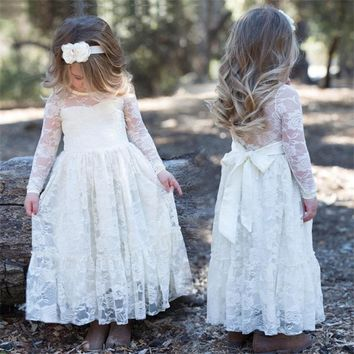 Rustic Flower Girls Lace Wedding Dresses Children Princess Costume For Kids Girl Party Clothes Fancy Evening Events Prom Dress