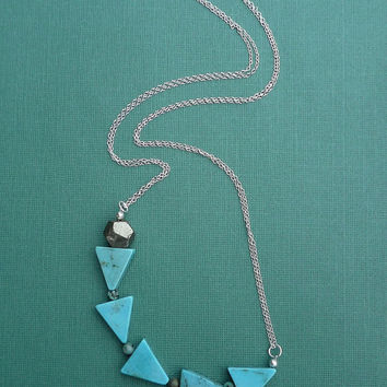 triangle magnesite and pyrite nugget necklace with sterling silver chain