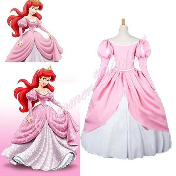 The Little Mermaid Princess Ariel Pink Fluffy Party Fancy Dress Cosplay Costume