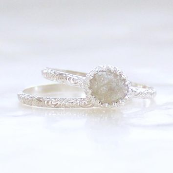 Vintage Inspired Raw Uncut Diamond and Sterling Silver Wedding Set