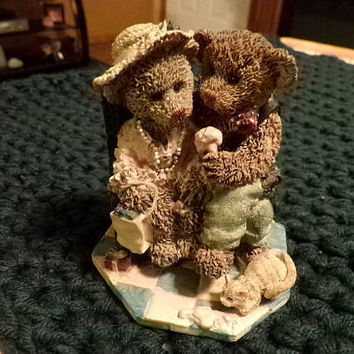 Cottage Collectibles by Ganz Dempster and Penelope First Love, vintage, bear figurine, gift for her, kids decor, home decor, business decor